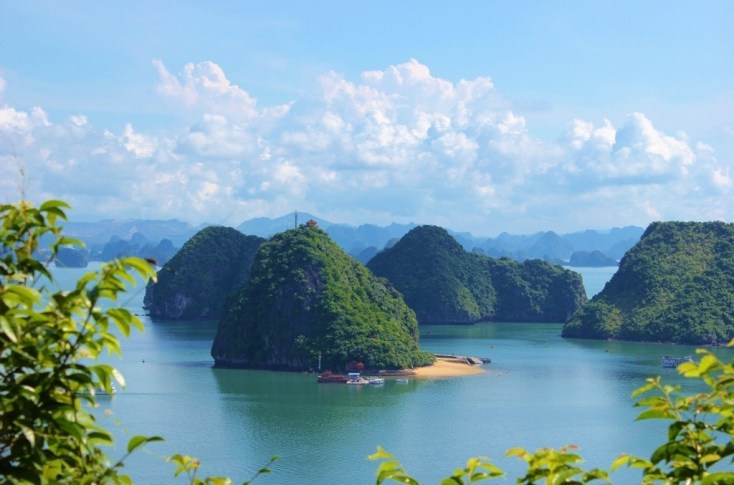 Views of Halong Bay, Vietnam from the top of a karst