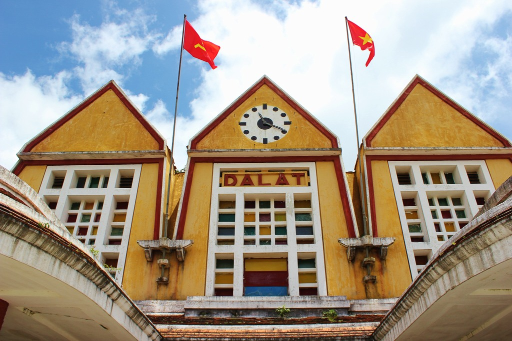 Historic, Art-deco train station in Dalat, Vietnam