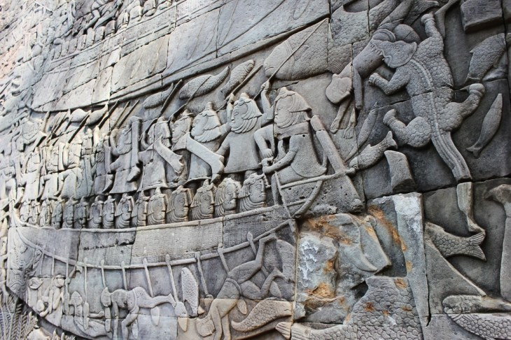 Detailed bas-reliefs at Bayon Temple at Angkor Park in Siem Reap, Cambodia