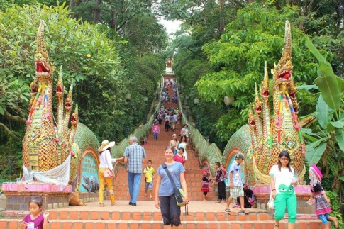 Naga snakes and 300 steps to Doi Suthep Temple in Chiang Mai, Thailand