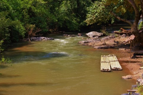 Bamboo rafts on riverside in Chiang Mai, Thailand