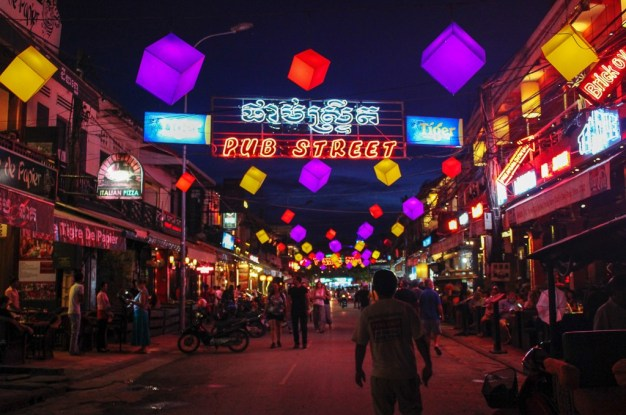 Iconic Pub Street at night in Siem Reap, Cambodia