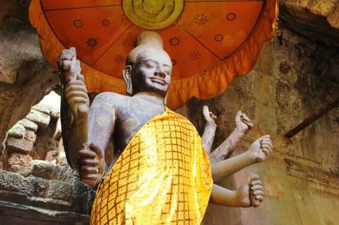 Statue of Vishnu inside Angkor Wat temple at Angkor Park in Siem Reap, Cambodia
