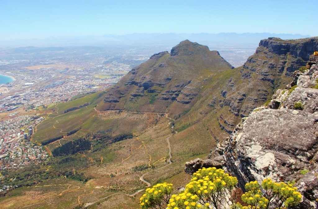 View from Table Mountain plateau to Devil's Peak