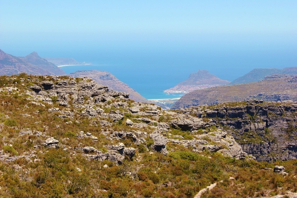 View from Table Mountain to Hout Bay in Cape Town, South Africa