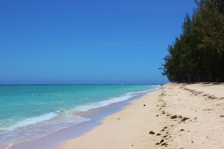 White, powder sand beach in Flic en Flac, Mauritius