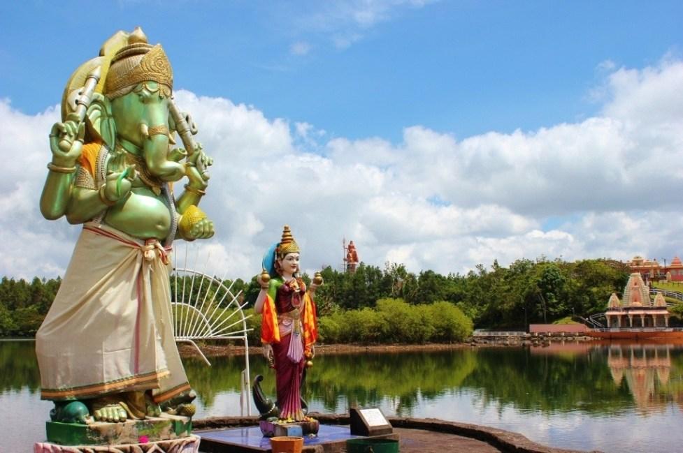 Statues honoring deities at Hindu Temple Grand Bassin in Mauritius