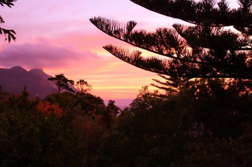 Sunset from our balcony in Hout Bay, Cape Town, South Africa