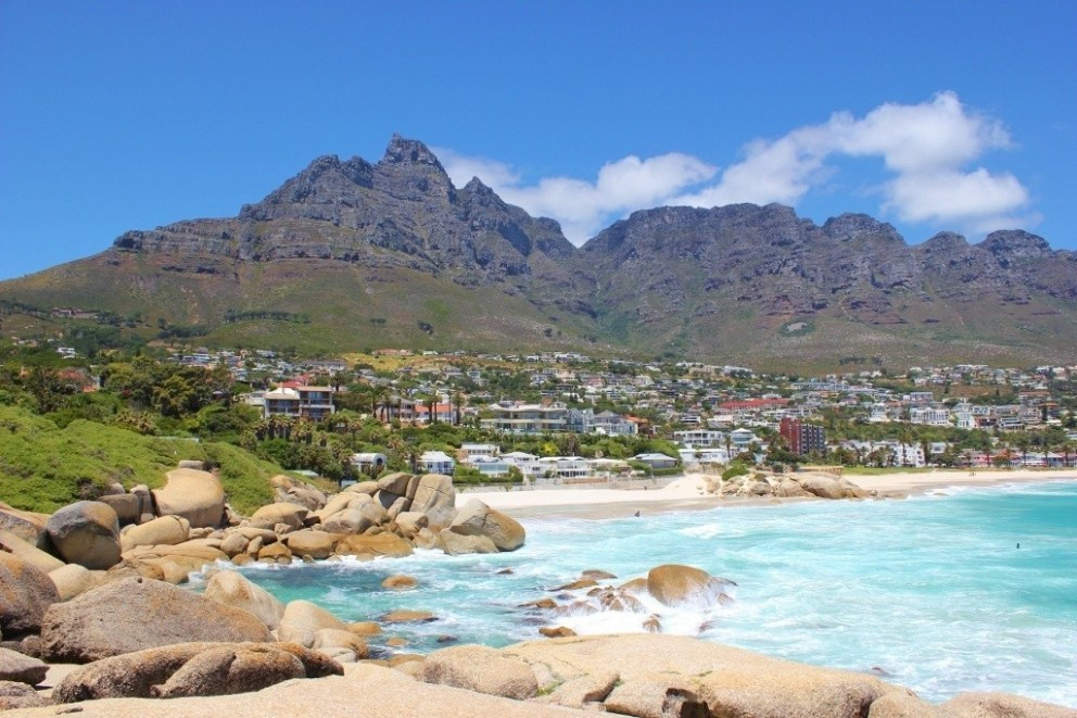 Camps Bay and Table Mountain in Cape Town, South Africa