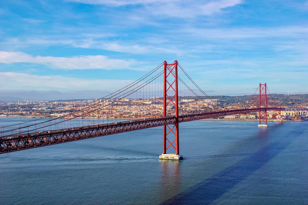 View of 25th April Bridge from Cristo Rei Viewpoint, Lisbon Portugal