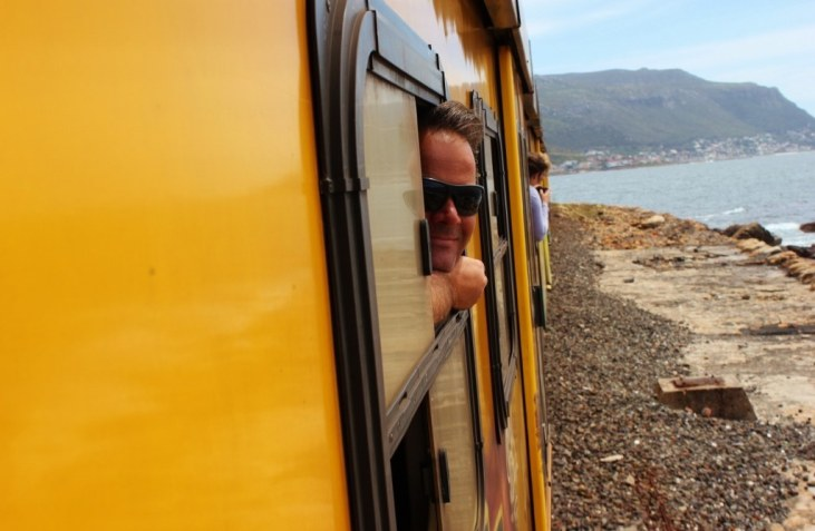 Riding the train from Cape Town to Simon's Town to see penguins at Boulders Beach