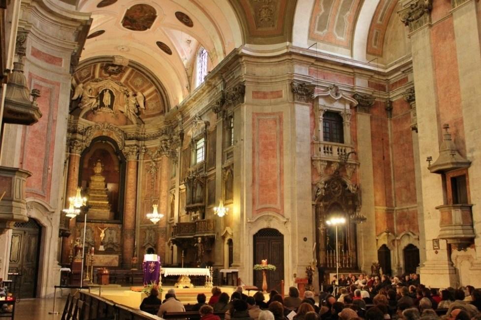 Ornate interior of Igreja da Graca in Lisbon, Portugal