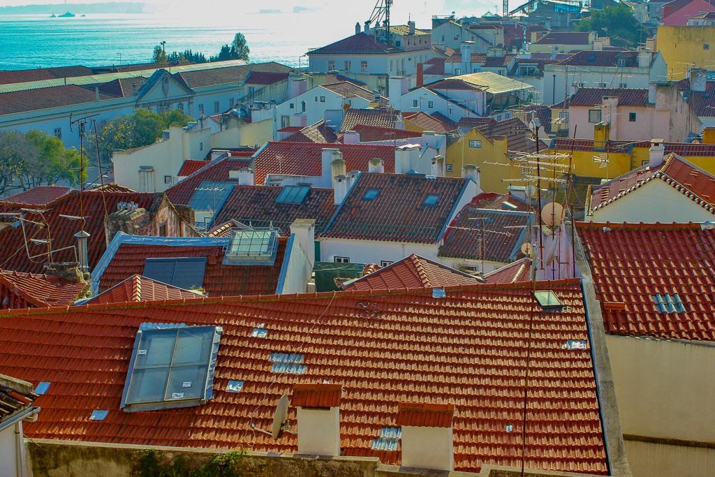 Alfama rooftops from Miradouro de Santa Estevao, Lisbon Portugal.
