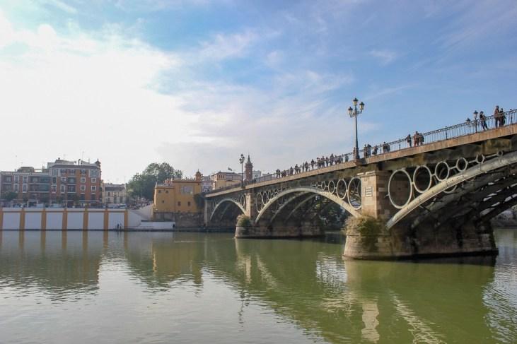Wonderful view of Puente de Isabel II leads into Triana, Seville Spain