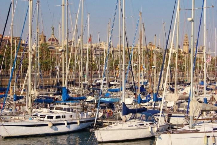 Port Vell Sailboat Marina in Barcelona, Spain