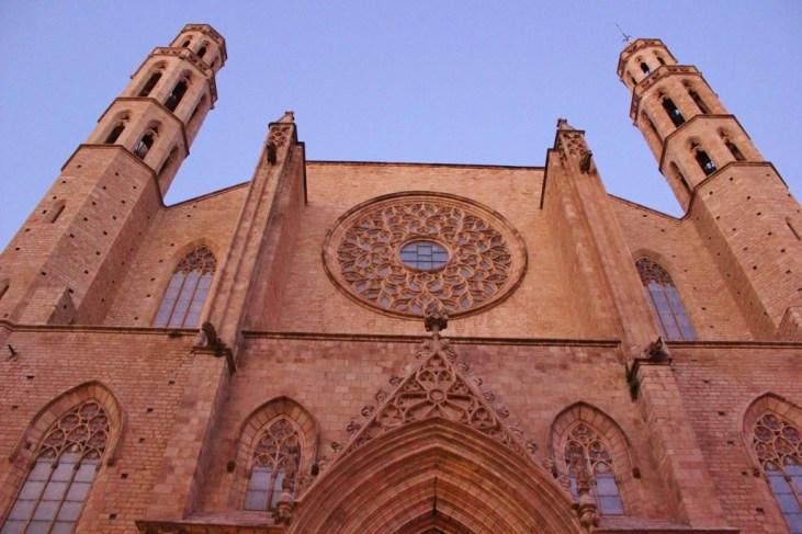 Santa Maria del Mar church in La Ribera Quarter in Barcelona, Spain