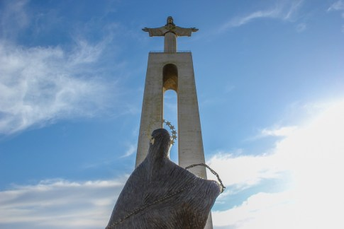 Virgin Mary statue at Cristo Rei Lisbon, Portugal