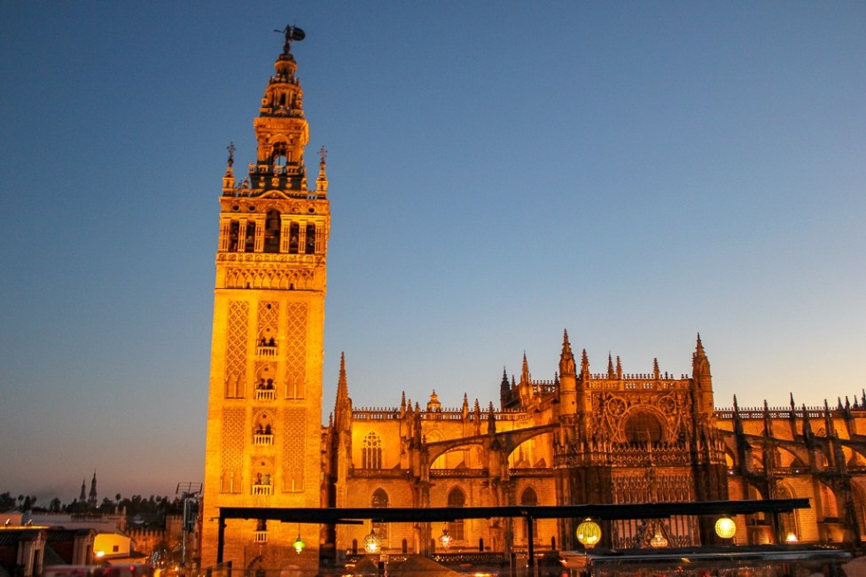 Seville, Spain Cathedral viewed at night,
