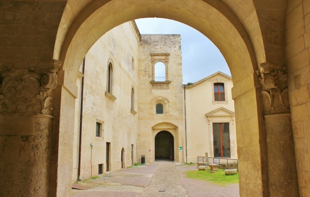 Entrance to courtyard at Carlo V Castle in Lecce, Italy