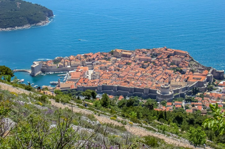 View of the Pearl on the Adriatic from Mount Srd in Dubrovnik, Croatia