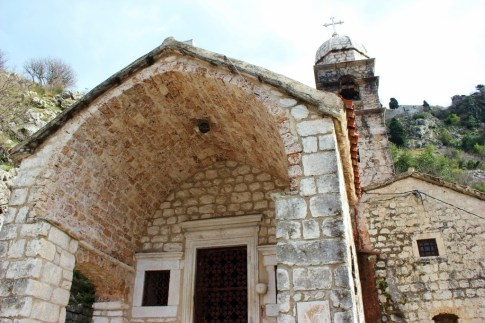 Entrance to Church of Our Lady of Remedy church in Kotor, Montenegro