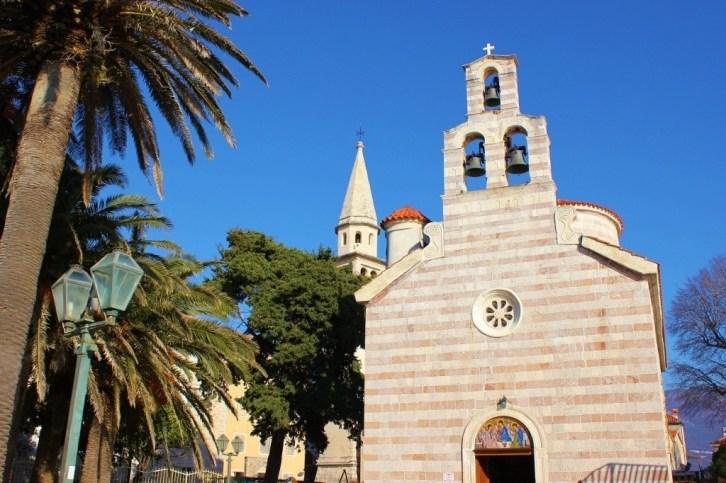 Budva main square: Orthodox Church
