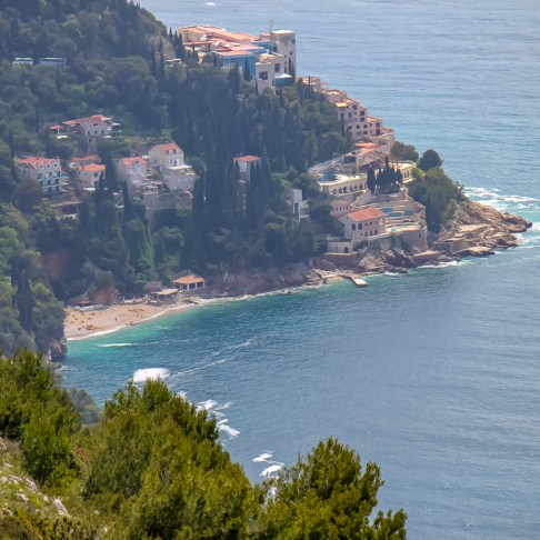 View of Jacob Beach from Bus 17 to Mount Srd in Dubrovnik, Croatia
