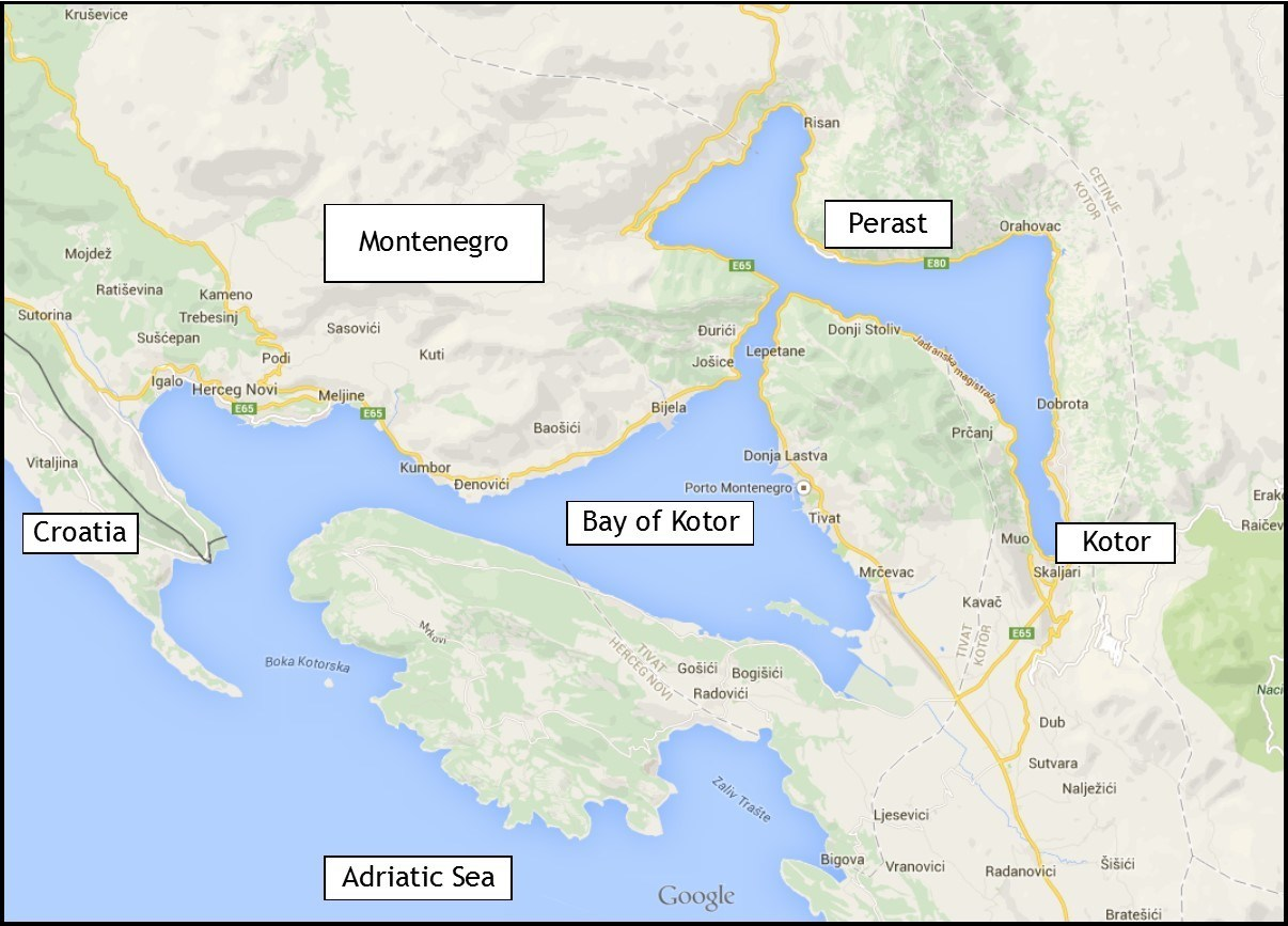 Perast, Montenegro: Bay of Kotor Map
