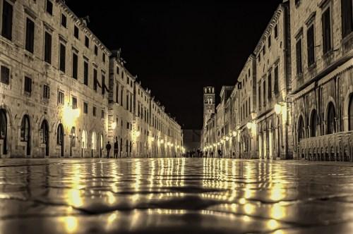 Empty Stradun street at night in Dubrovnik, Croatia