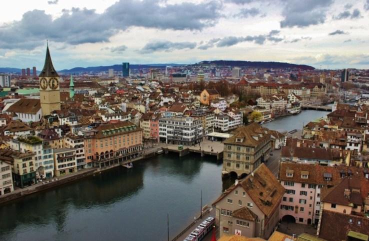 Zurich City View from Grossmunster Bell Towers, Zurich, Switzerland JetSettingFools.com