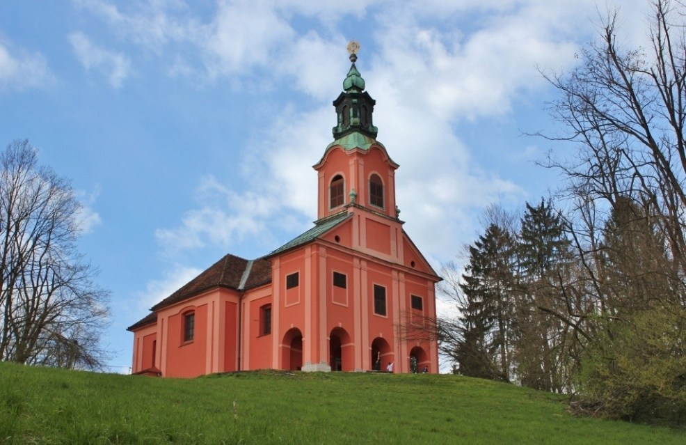 Pink church on Roznik Hill in Ljubljana, Slovenia