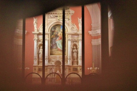 Keyhole view to Roznik Hill Church Altar in Ljubljana, Slovenia