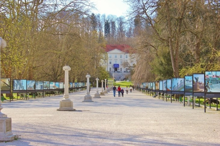 Ljubljana park Tivoli City Park and Tivoli Castle