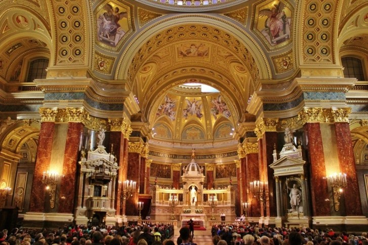 The glittering interior of St. Istvan's Basilica in Budapest, Hungary