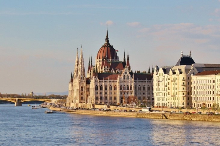 Iconic Budapest sights: View from Chain Bridge of Parliament.