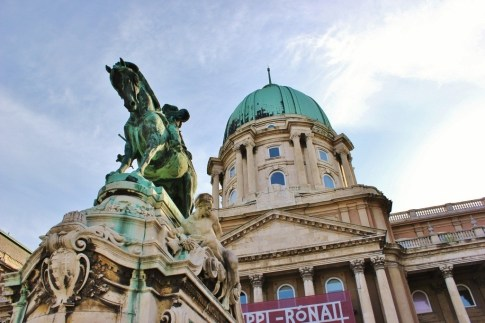 The Royal Palace and Eugene of Savoy Statue on Castle Hill in Budapest, Hungary