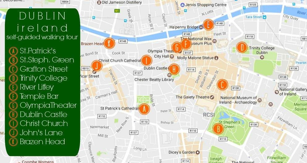 Dublin, Ireland Self-Guided Walking Tour Map JetSettingFools.com