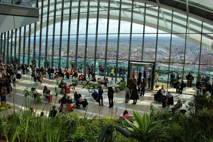 We were free to roam the open space of the Sky Garden, which covers the top three floors of 20 Fenchurch building.
