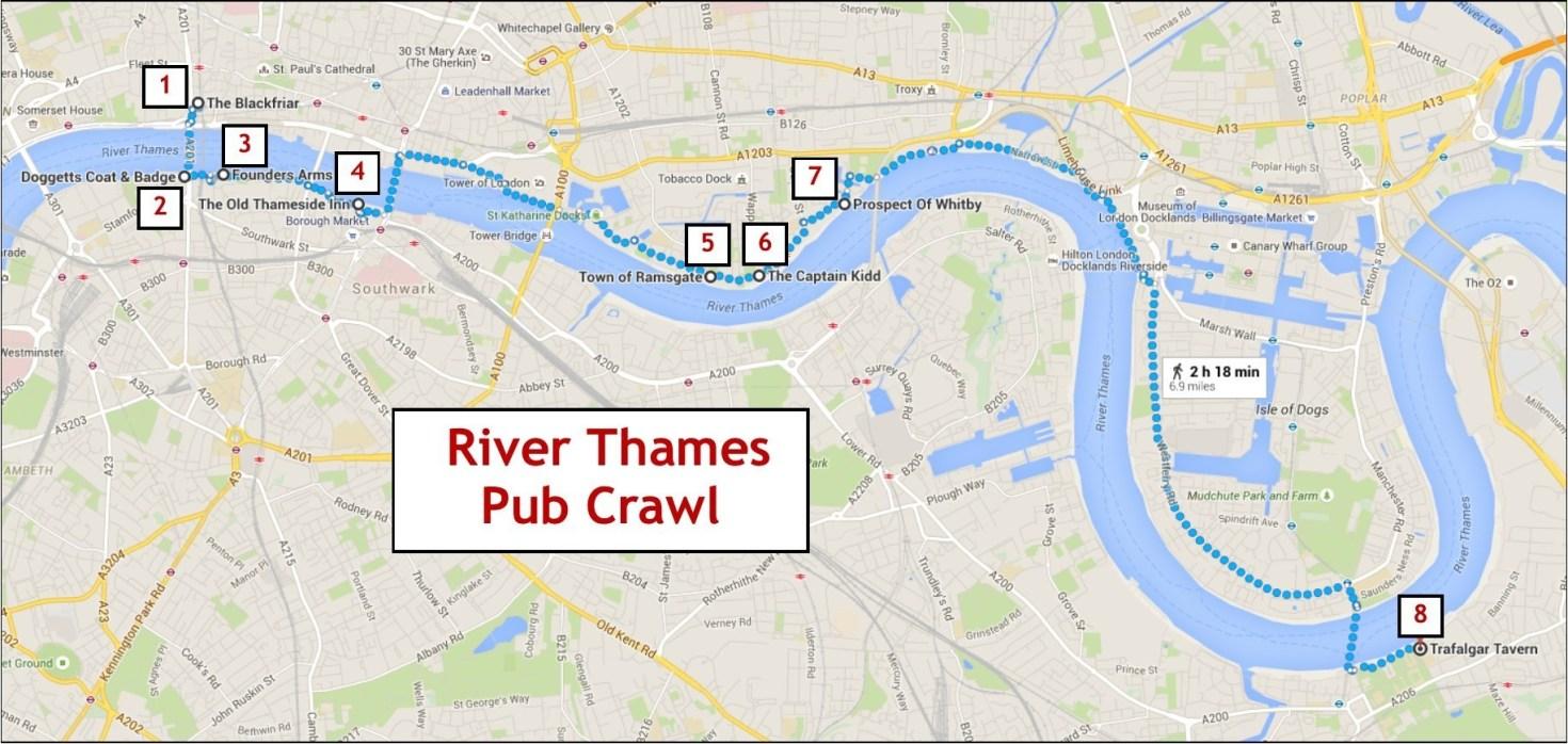 Thames River Pub Crawl map
