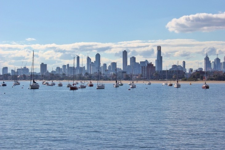 We had beautiul skyline views during our Walk from Port Melbourne to St. Kilda