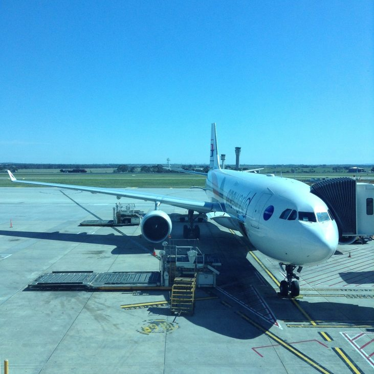 Looking at the Malaysia Airlines plane that will take us from Melbourne to Kuala Lumpur on our Epic Travel Day
