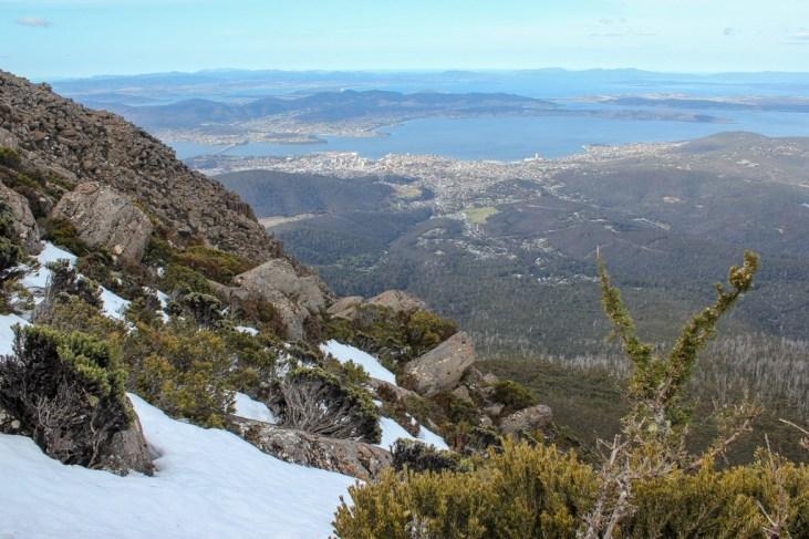 Snow on the slopes, Hobart, Tasmania, Australia