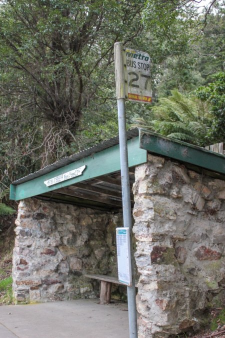 Bus Stop at the end of the hike down Mt Wellington, Hobart, Tasmania, Australia