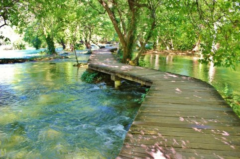 Wooden path over water at Krka National Park