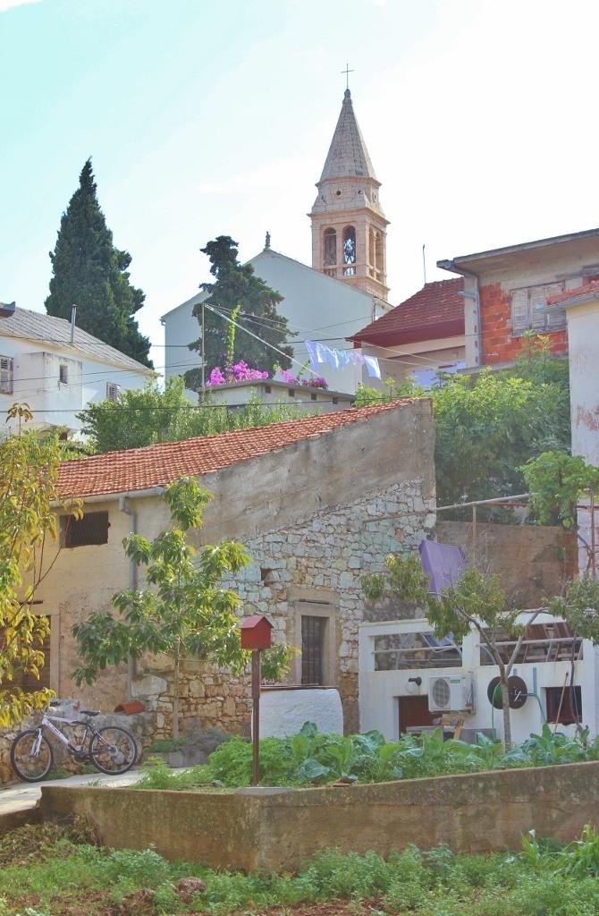 Bell Tower rises over town of Kali on Ugljan, Croatia