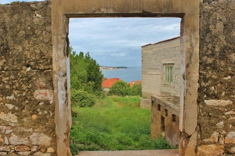 Looking through a window to sea in Kali on Ugljan, Croatia