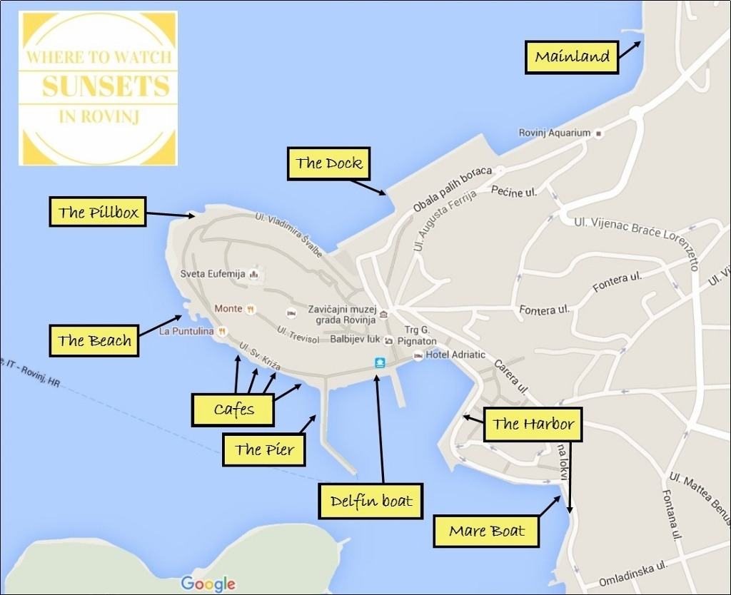 Map Where to Watch Sunsets in Rovinj