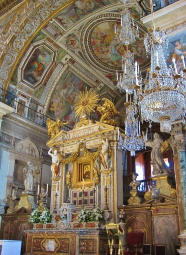 Ornate decor of interior of Santa Maria in Aracoeli Church on Capitoline Hill in Rome, Italy
