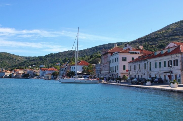 Vis Harbor after taking the Split To Vis Ferry, Croatia