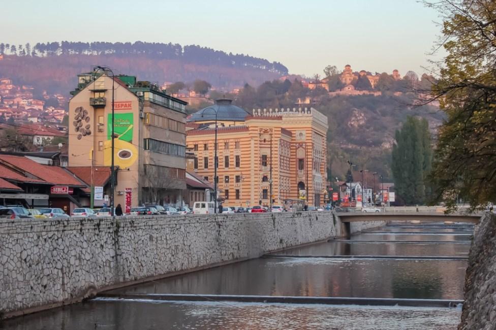 Miljacka River and City Hall in Sarajevo, BIH